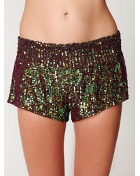 Free People | Green Sequin Boxer Short | Lyst