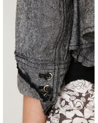 Free People - Gray Cropped Ruffle Peplum Jacket - Lyst