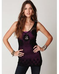 Free People | Black Engineered Crochet Tank | Lyst