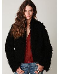 Free People - Black Sherpa And Knit Liner Coat - Lyst