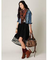 Free People - Black High Low Crinkle Skirt - Lyst