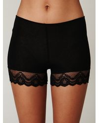 Free People | Black Lace Trim Bike Shorts | Lyst