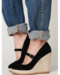 Free People | Black Mary Jane Espadrille | Lyst
