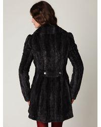 Free People - Black Long and Lean Faux Fur Coat - Lyst