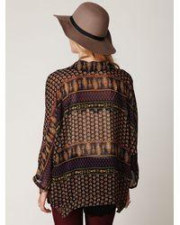 Free People | Black Paisley Printed Kimono | Lyst