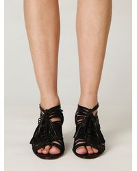 Free People | Black Stranded Wedge Sandal | Lyst