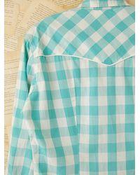 Free People - Blue Vintage Plaid Buttondown Shirt - Lyst