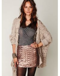 Free People | Brown Fever Sequin Bodycon Skirt | Lyst