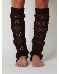 Free People | Brown Aria Crochet Legwarmer | Lyst