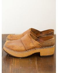 Free People - Brown Vintage Leather and Wood Clogs - Lyst