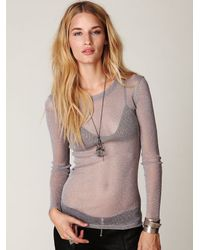 Free People | Gray Glitter Mesh Long Sleeve Layering Top | Lyst