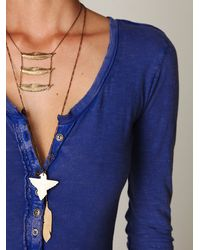 Free People - Blue Crochet Cuff Henley - Lyst