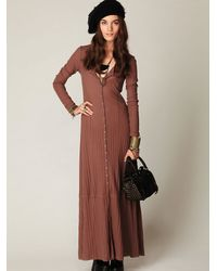 Free People | Brown Moon Duster Maxi | Lyst