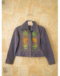 Free People | Blue Vintage Embroidered Denim Jacket | Lyst