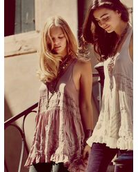 Free People | Purple Voile & Lace Trapeze Slip | Lyst