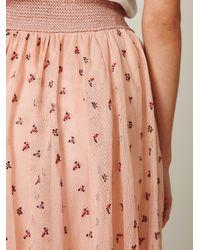 Free People - Pink Fp New Romantics Mesh Embroidered Tea Length Skirt - Lyst
