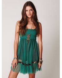 Free People - Green Fp One Sequin Smocked Slip - Lyst