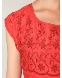 Free People | Red Short Sleeve Eyelet Garden Day Dress | Lyst