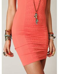 Free People | Orange Floral Seamless Bodycon Slip | Lyst