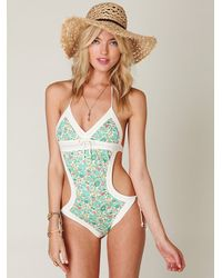 Free People | Green Printed French Monokini | Lyst