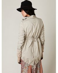 Free People - Gray Sweater Lined Parka - Lyst