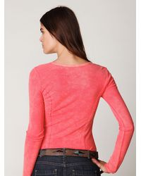 Free People - Pink Chilton Lace Up Long Sleeve Top - Lyst