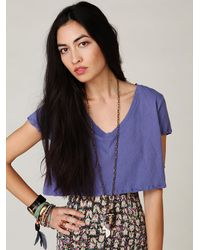 Free People | Blue Vneck Crop Top | Lyst
