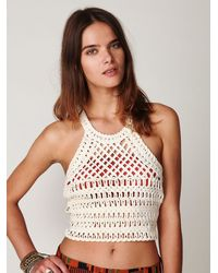 Free People | White Charlie Halter Crop Top | Lyst