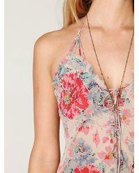 Free People | Pink Floral Lace Slip | Lyst