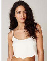 Free People | White Scalloped Lace Back Crop Top | Lyst