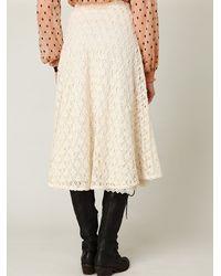 Free People - White Tea Length Crochet Skirt - Lyst