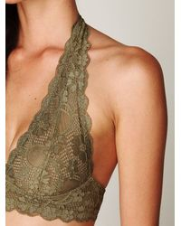 Free People - Natural Galloon Lace Halter Bra - Lyst