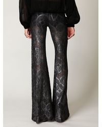 Free People - Gray Metallic Lace Bell Bottom - Lyst