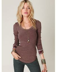 Free People | Brown We The Free Lou Flannel Cuff Thermal | Lyst