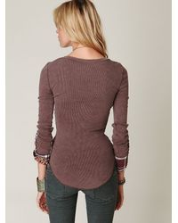 Free People - Brown We The Free Lou Flannel Cuff Thermal - Lyst