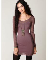 Free People - Purple Long Sleeve Lace Bodycon Slip - Lyst