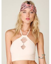 Free People | Natural Chevron Seamless Halter Bra | Lyst
