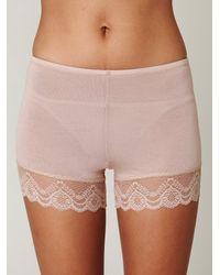 Free People - Pink Lace Trim Bike Shorts - Lyst