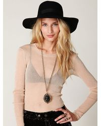 Free People | Natural Glitter Mesh Long Sleeve Layering Top | Lyst