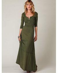 Free People   Green Fp Beach Womens Miles Of Henley Dress   Lyst