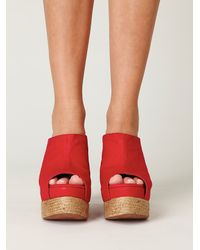 Free People | Red Amanda Mule Wedge | Lyst