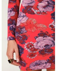 Free People | Multicolor Long Sleeve Printed Bodycon Dress | Lyst