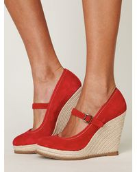 Free People | Red Mary Jane Espadrille | Lyst