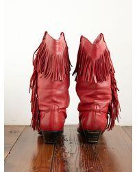Free People | Red Vintage Fringe Cowboy Boots | Lyst