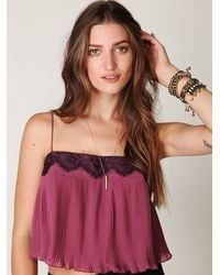 Free People | Pink Pleated Lace Trim Crop Top | Lyst
