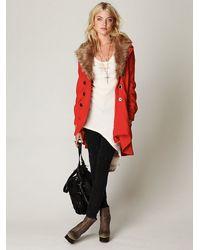 Free People | Pink Fur Trimmed Wool Coat | Lyst