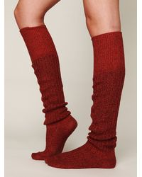 Free People | Red Rib Slouch Tall Sock | Lyst
