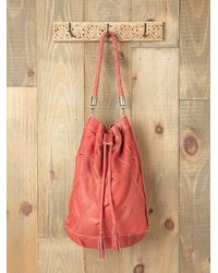 Free People - Red Karina Patched Bucket Tote - Lyst