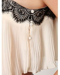 Free People | White Pleated Lace Trim Crop Top | Lyst