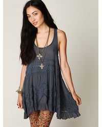 Free People | Blue Voile And Lace Trapeze Slip | Lyst